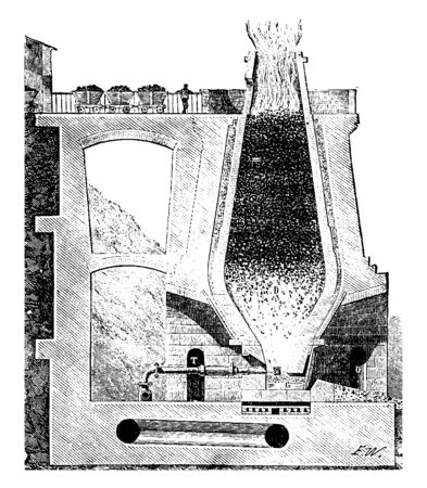 This illustration represents Blast Furnace which is used for smelting to produce metals, vintage line drawing or engraving illustration.