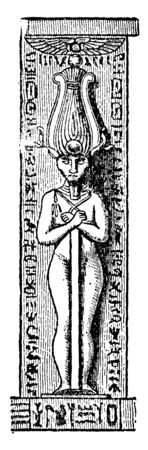 Pillar, decorative Egyptian pillar, similar  column, vertical support structure,  architecture, vintage line drawing or engraving illustration. 向量圖像