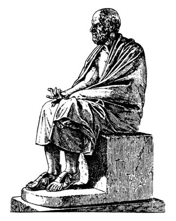 Chrysippus, he was a Greek Stoic philosopher, sketch of a restoration, vintage line drawing or engraving illustration
