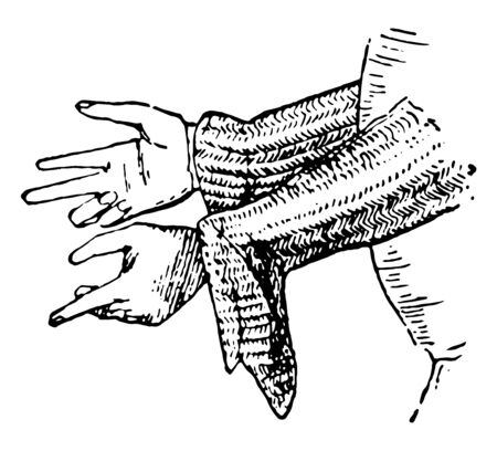 Gauntlet of Mail forming part of the hauberk, vintage line drawing or engraving illustration.
