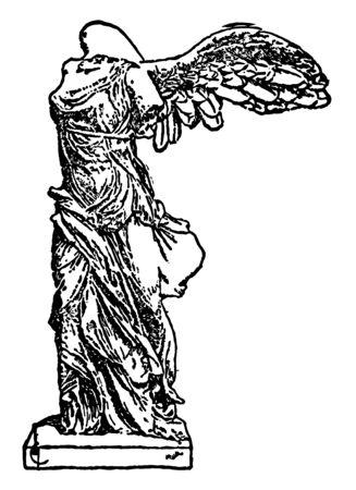 A statue of Samothreace, vintage line drawing or engraving illustration. Stock Illustratie