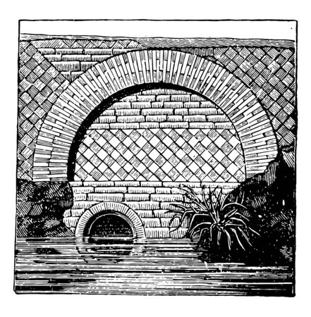 Reticulated Work, masonry, common, square, laid, resembling, vintage line drawing or engraving illustration.