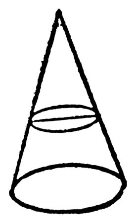 The image shows the circle the cone is in. The axis of the cone is perpendicular to the plane and there is a small inner circle inside it, vintage line drawing or engraving illustration. Stock Illustratie