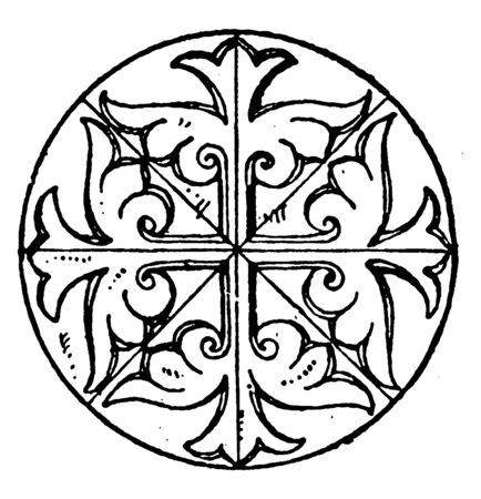 Byzantine Circular Panel is found in the St. Sofia monument, it is a former imperial ottoman capital Constantinople, vintage line drawing or engraving illustration.