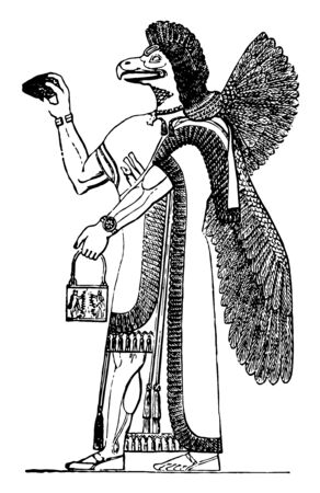 This image shows the figure of God. This is the Assyrian god of agriculture. God is together with the wings, vintage line drawing or engraving illustration.