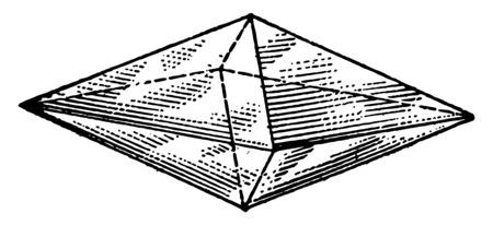 A right octahedron diagram with a rhombic base or double four-sided pyramid. It is a polyhedron with eight faces. It is the main form of the isometric system, vintage line drawing or engraving illustration.