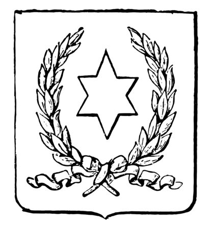 Paraguay Coat of Arms have six-pointed star seal, vintage line drawing or engraving illustration.