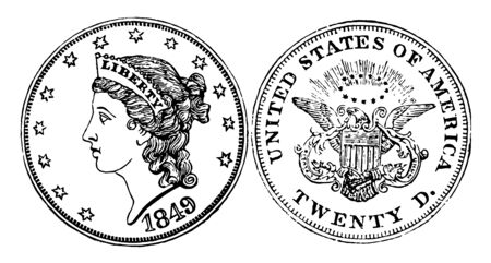 A picture is showing Gold Double Eagle Coin, 1849. It is gold coin. Obverse has an image of lady that looks to the left. Reverse shows eagle with shield on his back and holding arrows in his left talon, vintage line drawing or engraving illustration.