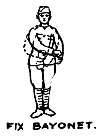 Fix Bayonet attach their bayonets to the end of their rifles, vintage line drawing or engraving illustration.