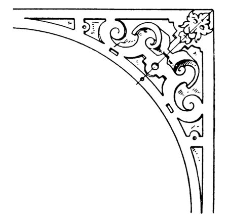 Renaissance Spanrail Panel was designed by Dutch architect, vintage line drawing or engraving. Stock Illustratie