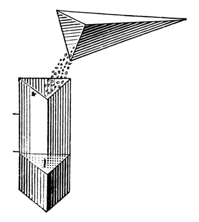 Image shows the units used to compare the volumes of a pyramid and a prism by emptying sand from the pyramid into the prism, vintage line drawing or engraving illustration. Stock Illustratie