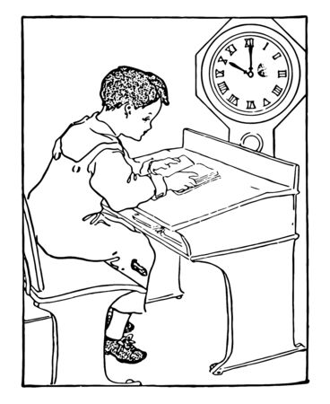 This picture is showing a child sitting on bench reading a book in school. Time shown in watch is 10:00, vintage line drawing or engraving illustration.