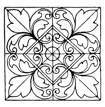 Moorish Tiles Square Panel have four big flowers in it corners, vintage line drawing or engraving illustration. Ilustrace