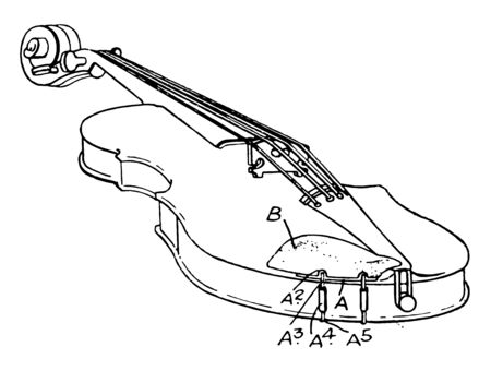 Musical Violin held nearly horizontal by the player arm with the lower part supported against the collarbone or shoulder, vintage line drawing or engraving illustration. Ilustrace