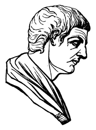 Aristotle, 384-322 BCE, he was an ancient Greek philosopher and scientist, one of the most important founding figures in western philosophy, vintage line drawing or engraving illustration