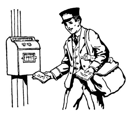 A postman is delivering the mails into the post-box, vintage line drawing or engraving illustration. Ilustracja