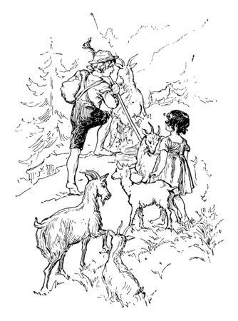 Heidi und Peter, diese Szene zeigt einen kleinen Jungen und ein Mädchen, die Ziegen, Berge und Bäume im Hintergrund hüten, Vintage-Linienzeichnung oder Gravurillustration
