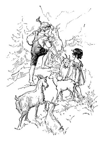 Heidi and Peter, this scene shows a little boy and girl herding goats, mountains and trees in background, vintage line drawing or engraving illustration