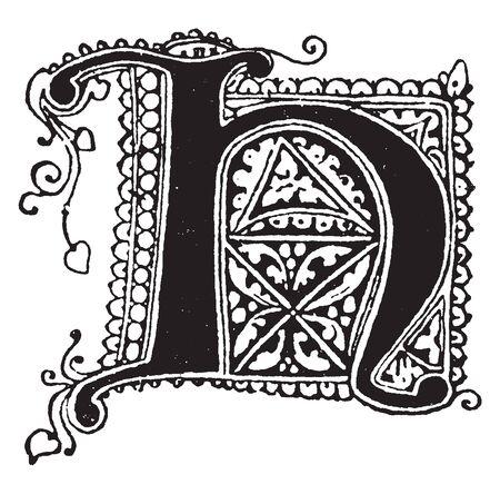 Ein Buchstabe H in gotischer Unziale, Vintage-Linien-Zeichnung oder Gravur-Illustration