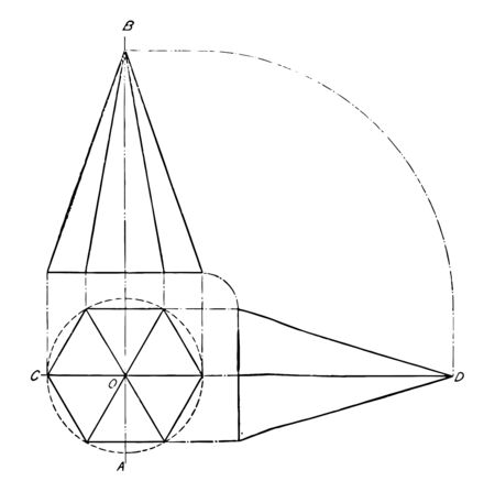 The image shows the projection of a hexagonal pyramid that is in a correct position, vintage line drawing or engraving illustration.