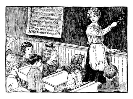 Teaching Math by teacher on the blackboard, chalkboard, math, students, teacher, vintage line drawing or engraving illustration.