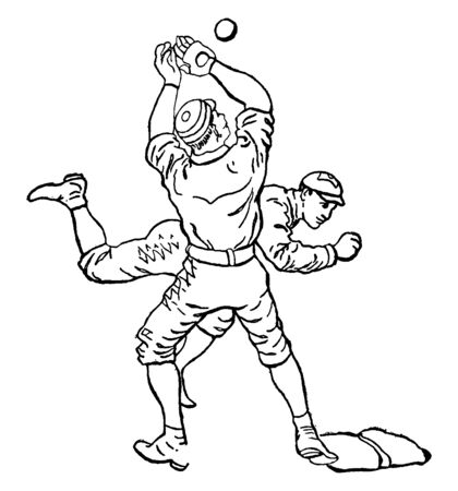A player is running towards his base as soon as possible so that he can touch the base before the baseman catches the pass, vintage line drawing or engraving illustration.