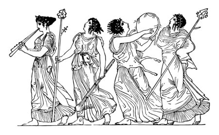 Greek women playing instruments, vintage line drawing or engraving illustration.