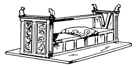 Medieval bench is long bench with movable back at the center, vintage line drawing or engraving illustration