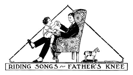 Father is seating on chair and son is seating on father's knees. Father plays games with his son riding on his knee, vintage line drawing or engraving illustration.