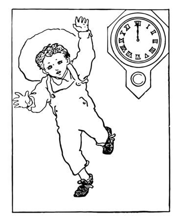 This image shows the running child at 12 noon. It is used to create a noon story problems, vintage line drawing or engraving illustration. Ilustrace