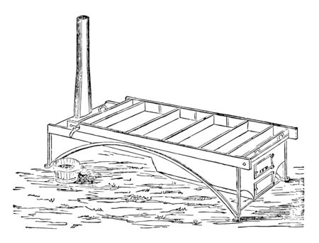 This illustration represents Jacobs Pan which consists of a plain rectangular shallow pan of any convenient length and width, vintage line drawing or engraving illustration. Ilustração