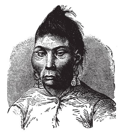 Yakut Woman is a Turkic people associated with the Sakha Republic, vintage line drawing or engraving illustration.