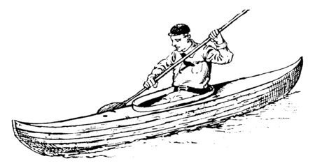 A man is moving a boat forward with the help of a paddle on a small river, vintage line drawing or engraving illustration. Çizim