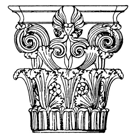 Greek Corinthian Capital, a monument in Lysikrates, a design of spiral curves,  the rows of leaves, unite in pairs, vintage line drawing or engraving illustration.