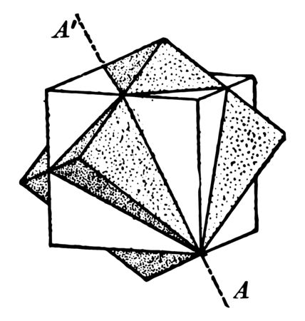 A diagram showing twin cubes. It is a combination of two cubes, vintage line drawing or engraving illustration.