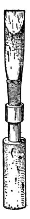 Oboe Double Reed is wrapped with wire and special string, vintage line drawing or engraving illustration. Illusztráció
