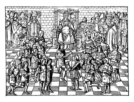 In this image showing urban Pope II on the council of Clermont. Many people have gathered, Pope Urban II is guiding them and changing history, vintage line drawing or engraving illustration.