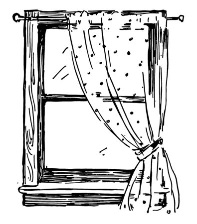 Window is an opening in a wall and in door and on roof related to the other transparent or translucent material, it is latch or similar mechanism, vintage line drawing or engraving illustration. 일러스트