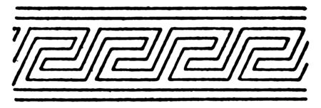 Raking Fret Band is a repetitive meandering pattern, its known as subordinaries, vintage line drawing or engraving.