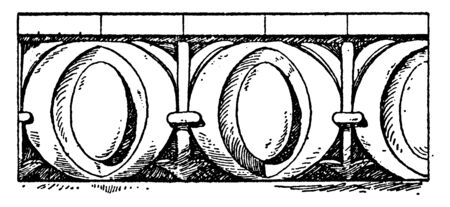 Roman Egg-and-Dart Moulding is enrichment  leaf  molding, Ancient Greek architecture, Erechtheion, vintage line drawing or engraving illustration. Illustration