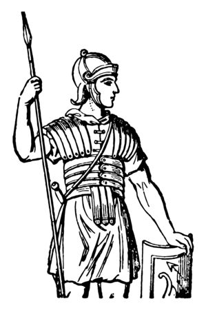 Roman Cuirass worn by the Roman soldiers, vintage line drawing or engraving illustration.