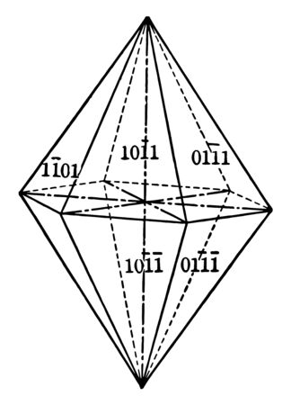 The twelve isosceles triangular faces, each of which crosses two horizontal crystallographic axes alike, is parallel to the third horizontal axis and intersects the vertical axis, vintage line drawing or engraving illustration. Illustration