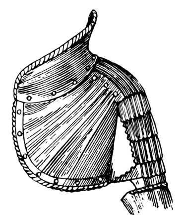 Garde Collet is a raised and ornamental ridge terminating the pauldron on the side toward the neck, vintage line drawing or engraving illustration. Stok Fotoğraf - 132979398