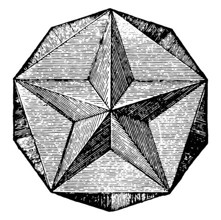 A non-convex polyhedron delimited by many pentagonal faces that intersect. It has vertices of star, vintage line drawing or engraving illustration.