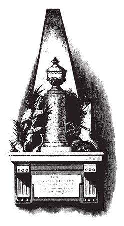 Monument of Richard Montgomery,an Irish-born soldier who first served in the British Army,vintage line drawing or engraving illustration.