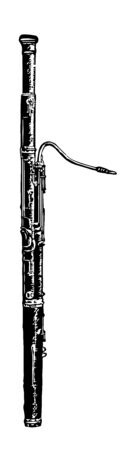 Bassoon may be considered the bass of the oboe, vintage line drawing or engraving illustration.