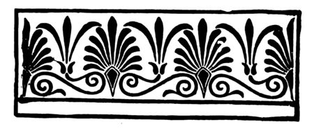 An image that shows Anthemion. An ornate series used in Roman Greek decoration, vintage line drawing or engraving illustration. Illusztráció