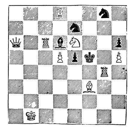 This is image look like a Chess game. White to play and mate in two moves, vintage line drawing or engraving illustration.
