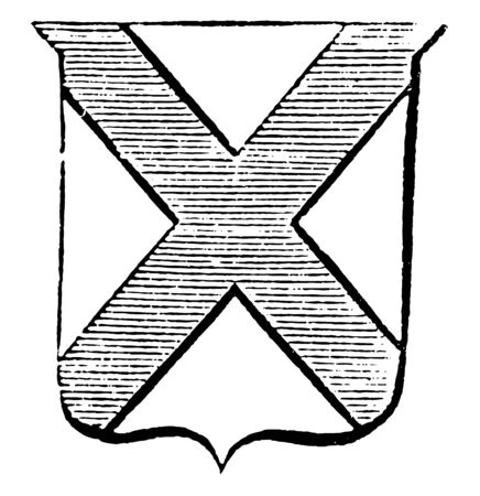 Saltire Flag, this flag has shield shape and two bands of horizonal lines crossing each other, vintage line drawing or engraving illustration