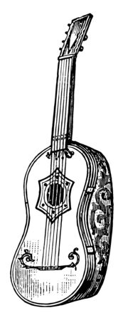 French Guitar having usually six strings stretched over a violin shaped body, vintage line drawing or engraving illustration.